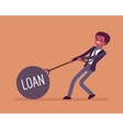 Businessman dragging a weight Loan on chain vector image
