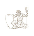 Roman God Neptune or poseidon with trident and vector image