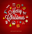 Christmas lettering with flat icons vector image