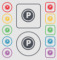 Car parking icon sign symbol on the Round and vector image