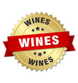 wines 3d gold badge with red ribbon vector image