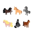 Cartoon Funny and Cute Horses or Pony Set vector image