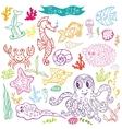 Cartoon Funny Fish Sea Life Doodle linear se vector image