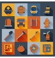 Firefighter icons flat vector image