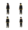 Set of isometric firefighters vector image