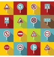 Different road signs icons set flat style vector image