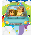 A mother driving with her daughter vector image vector image