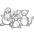 cute pets cartoon coloring page vector image