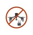 Drone Prohibited Danger Zone Sky Icon Red vector image