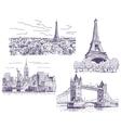 Sightseeings drawings set vector image