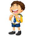 Happy boy in school uniform vector image vector image
