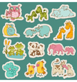 Baby and Mommy Animal Set on paper tags vector image