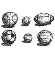 Ball sketch set with shadow on the ground isolated vector image