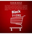 Black friday sale Shopping cart flat icon on red vector image