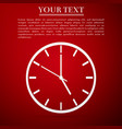 clock flat icon on red background vector image