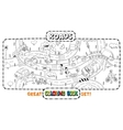 Coloring book of roads with cars vector image