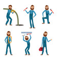 funny character of repairman or plumber in vector image