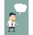 Happy cartoon surprized businessman vector image