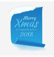 merry christmas greeting card red curved paper vector image