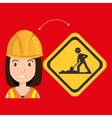 woman construction tool work vector image