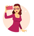 young girl in red dress makes selfie phot vector image