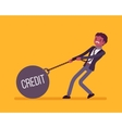 Businessman dragging a weight Credit on chain vector image