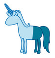 blue silhouette of cartoon faceless unicorn vector image
