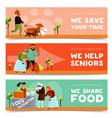 humanitarian horizontal banners set vector image