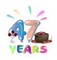 47 th birthday celebration greeting card vector image