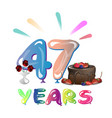 47 th birthday celebration greeting card vector image