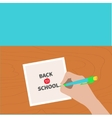Back to school greeting card chalk text Hand vector image