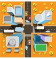Autumn city from above vector image