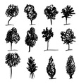 Set of hand drawn sketch trees on white background vector image