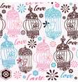 Vintage birds love background vector image
