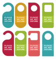 Do not disturb door hanger set vector image