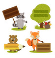 set of isolated forest animal with frame vector image