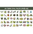 doodle farm icons set vector image