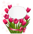 Celebration background with pink tulips vector image vector image