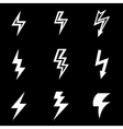 white lightning icon set vector image