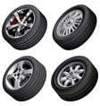 Automobiles wheels bundle vector image