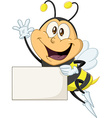 Bee Holds Sign And Waves Hello vector image