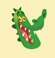 cartoon crocodile smiling head vector image