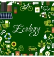 Eco background with recycling save energy icons vector image