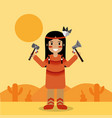 native american indian character holding tomahawk vector image