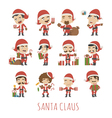 Set of Santa Claus costume characters vector image