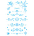 Snowflake page dividers and decorations isolated vector image