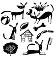cute dogs silhouettes vector image