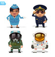 flight professions set vector image vector image