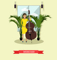 musician playing contrabass vector image