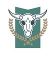 cow skull emblem vector image vector image